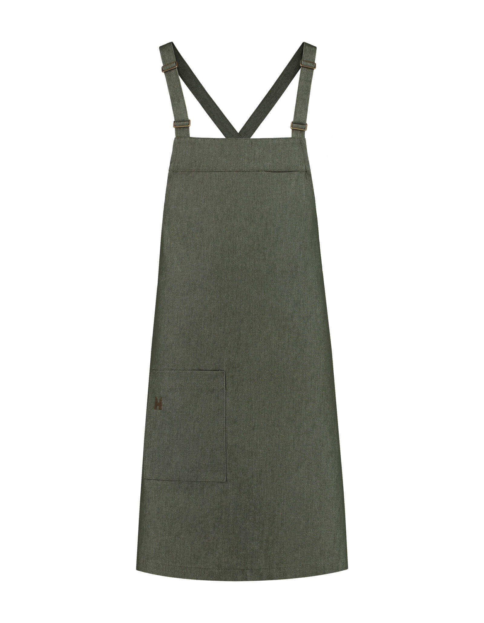 Bib Apron Eden Heavy Green Denim